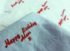 soho embroidery Embroidered 'Happy Birthday'