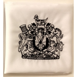 soho embroidery STEPHEN WILLIAMS LONDON crest hankie