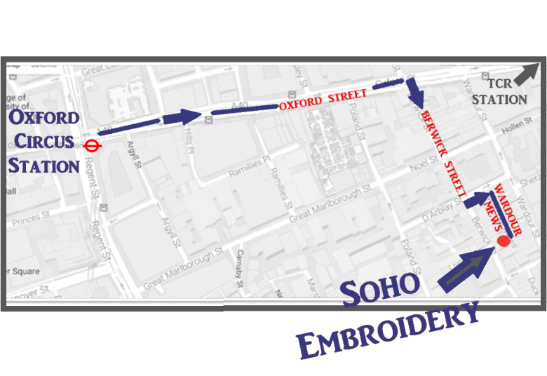 Soho Embroidery - map from Oxford Circus